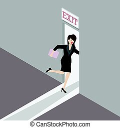 Business woman runs to the exit door