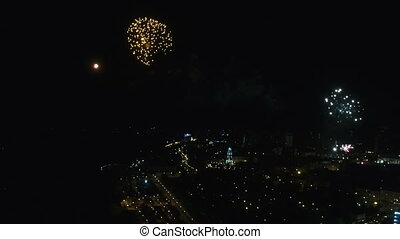 Aerial fireworks during the celebration of Victory Day -...