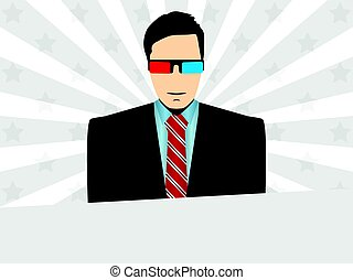 Man wearing 3D glasses. Background with rays and stars. Vector illustration