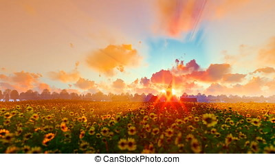 French sunflower village with old windmill against beautiful...