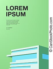 Advertising poster with abstract architecture. Green background with building. Vertical placard with place for text. Colorful vector illustration.