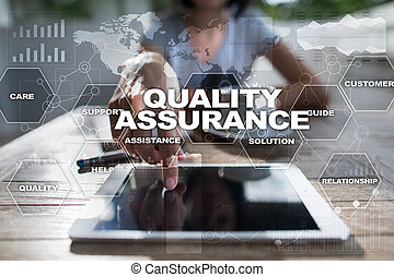 Quality assurance on virtual screen. Business concept