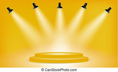 Light box with presentation platform on yellow backdrop with...