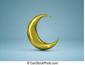 Crescent golden moon. Vector 3d illustration