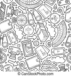Cartoon Traveling seamless pattern with lots of objects