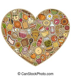 Vector set of Russian food cartoon doodle objects - Colorful...