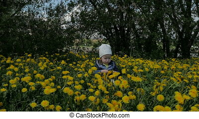A small, beautiful girl sits in a green city park among yellow dandelions and plays.