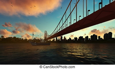 Goldengate Bridge fishing boat zoom out, beautiful sunrise