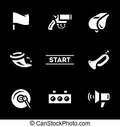 Vector Set of Start Signal Icons. - Flag, pistol, whistle,...