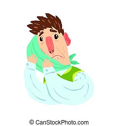 Man with swelling of the cheek and a bandage suffering from toothache pain cartoon character vector Illustration