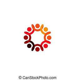 Abstract vector logo depicting the stylized people, who hold...