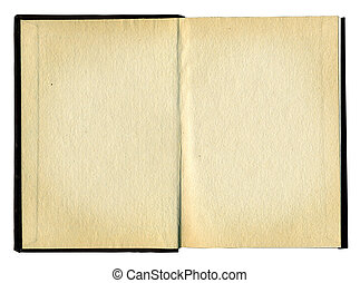 Blank pages in an old book - Old opened book with blank...