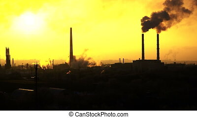 video of oil refinery air pollution at sunset - Video of oil...
