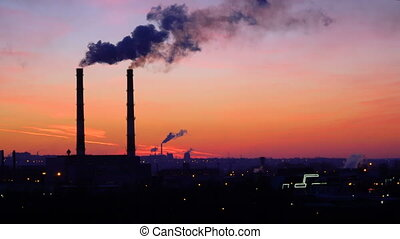 video of oil refinery and air pollution at sunset. 4K stock...