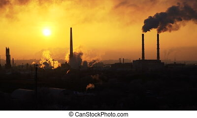 video of oil refinery air pollution at sunset. 4K stock...
