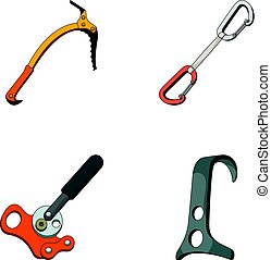 An ice ax, a carbine and other equipment.Mountaineering set...