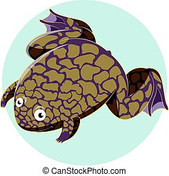 Cartoon smiling Xenopus - Vector image of the Cartoon...