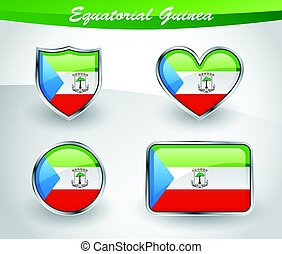Glossy Equatorial Guinea flag icon set with shield, heart,...