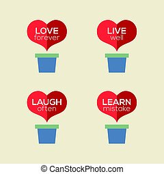 Love Live Laugh Learn Heart Plants Vector Illustration