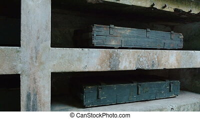 Old bunkers and boxes of ammunition