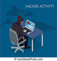 Isometric vector Internet hacker attack and personal data...