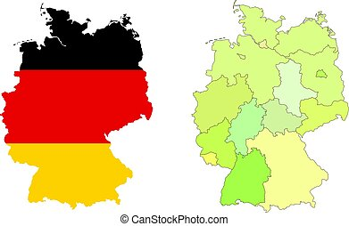 Vector Germany map with colorful regions, borders and flag. Isolated on white.