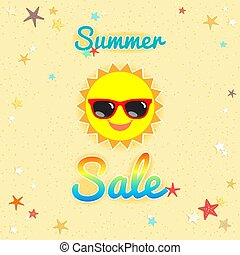 Summer sales banner or poster with smiley sun face wearing...