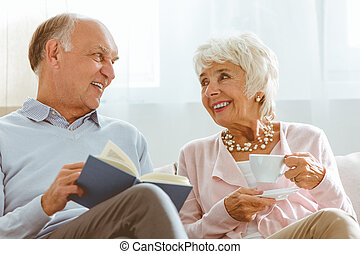 Couple spending time together - Senior happy smiling couple...