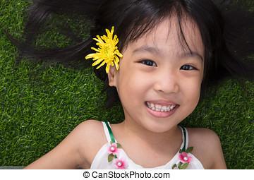 わずかしか, 花, 中国語, アジア人, 女の子, 草, あること