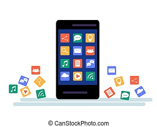 Black Smartphone with cloud of application icons and Apps icons flying around them, isolated on White background