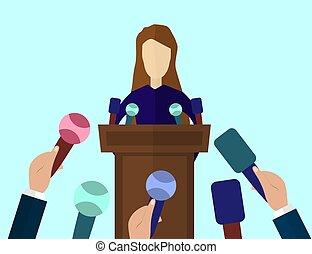 Press Conference, Public Speaker vector illustration in flat...