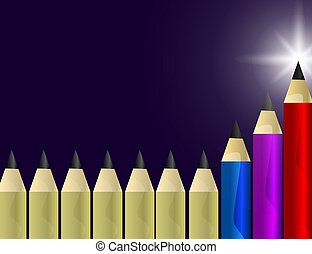 Red, Blue and Lilac Pencils Stands out from the Yellow Ones. Leadership, Winner, Successful Concept.