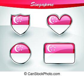 Glossy Singapore flag icon set