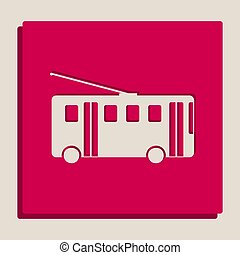 Trolleybus sign. Vector. Grayscale version of Popart-style...