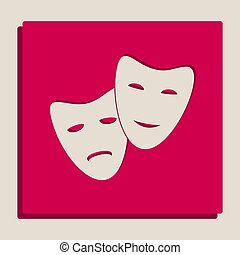 Theater icon with happy and sad masks. Vector. Grayscale...