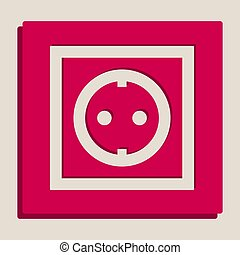 Electrical socket sign. Vector. Grayscale version of Popart-style icon.