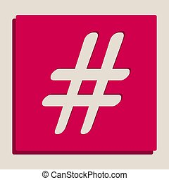 Hashtag sign illustration. Vector. Grayscale version of...