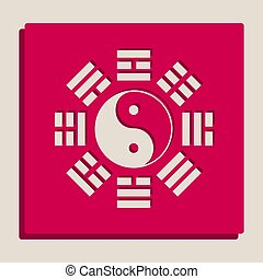 Yin and yang sign with bagua arrangement. Vector. Grayscale...