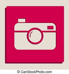 Digital photo camera sign. Vector. Grayscale version of...