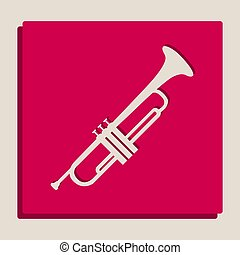Musical instrument Trumpet sign. Vector. Grayscale version...