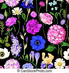 Seamless garden flowers