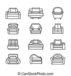 Line icon chair set. Collection of furniture for home interiors
