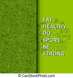 Healthy lifestyle background in green
