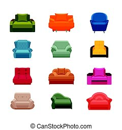 Colorful icon chair set. Collection of furniture for home interiors