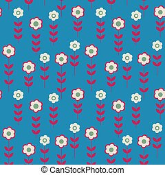 Seamless pattern with flowers on a blue background