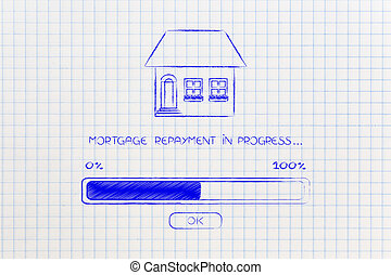 mortgage repayment house with progress bar loading - house...