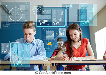 happy students with notebooks writing school test -...