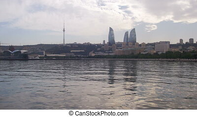 Landscape view of the embankment of Baku, Azerbaijan, the...