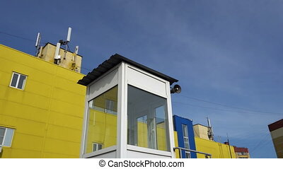 cabin with a loudspeaker on the background of...