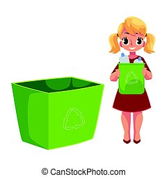 Girl throwing plastic bottles into trash bin, garbage recycling concept